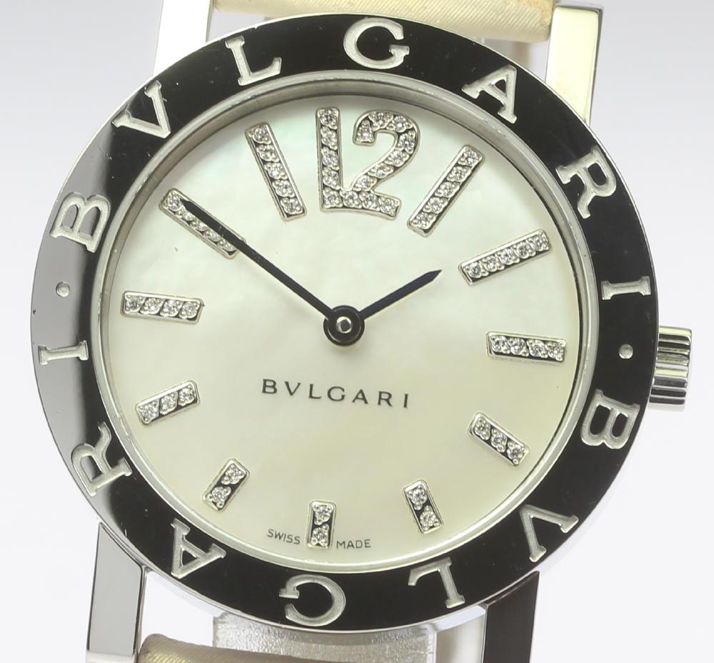 【BVLGARI】ブルガリブルガリ BB33SL インデックスダイヤ QZ シェル文字盤 革ベルト レディース【181004】【中古】