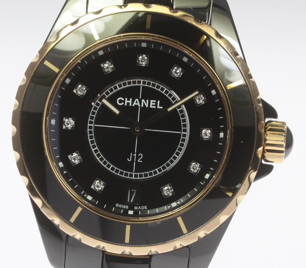【CHANEL】シャネル J12 H2544 黒セラミック×PG 11Pダイヤ 38mm クォーツ メンズ【中古】【181004】