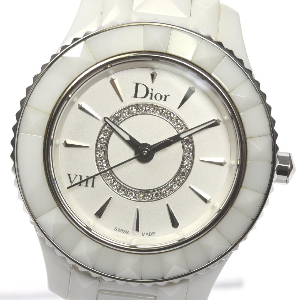 ★良品★【Dior】ディオール ユイット CD1231E2 QZ セラミック レディース【中古】【181030】