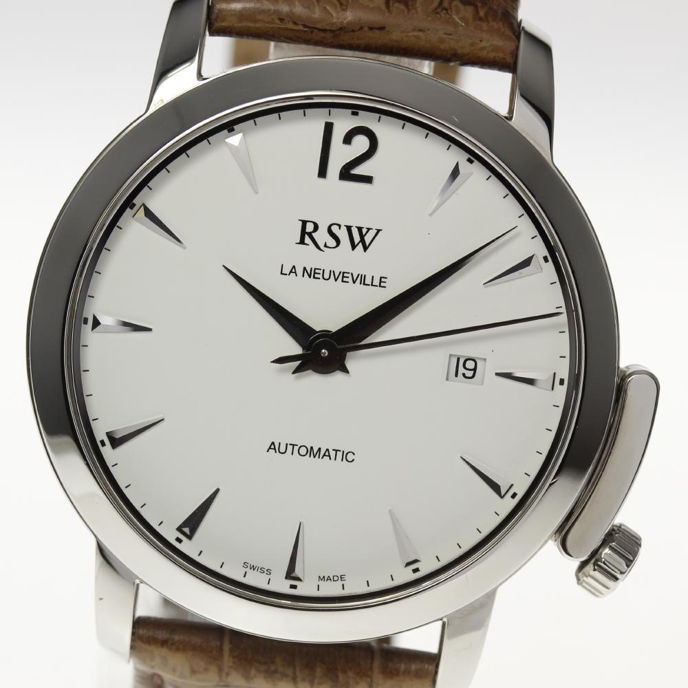 【RSW】ラマスイスウォッチ 7345 自動巻き 白文字盤 革ベルト メンズ【181030】【19041】【中古】