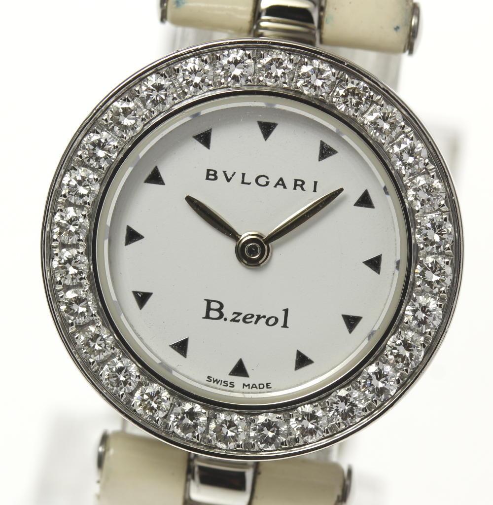 【BVLGARI】ブルガリ BZ22S B-zero1 ダイヤベゼル QZ エナメル革ベルト レディース【181030】【中古】