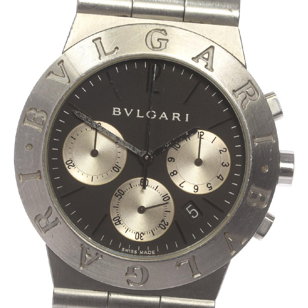 【BVLGARI】ブルガリ ディアゴノスポーツ CH35S クロノグラフ QZ メンズ【中古】【181030】