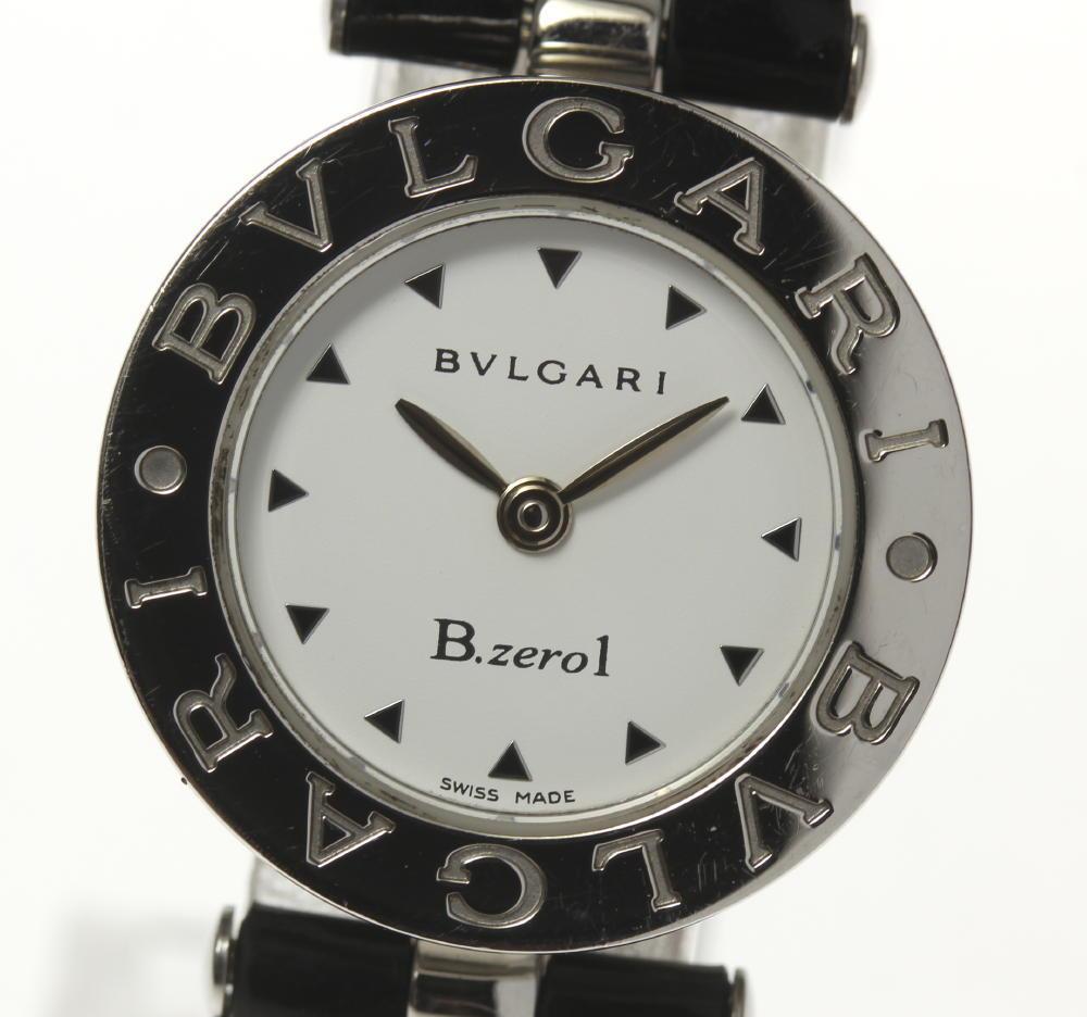 【BVLGARI】ブルガリ BZ22S B-zero1 QZ 白文字盤 エナメル革ベルト レディース【181116】【中古】