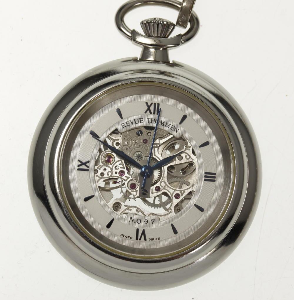 【REVUE THOMMEN】レビュートーメン スケルトン 手巻き 懐中時計【中古】