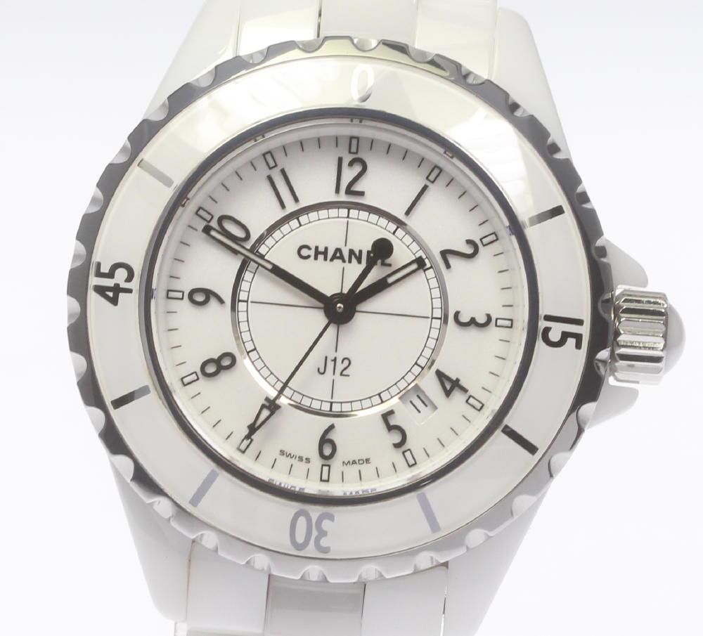 buy popular ee89b 3e85f Chanel J12 H0968 white ceramic 33mm quartz Lady's