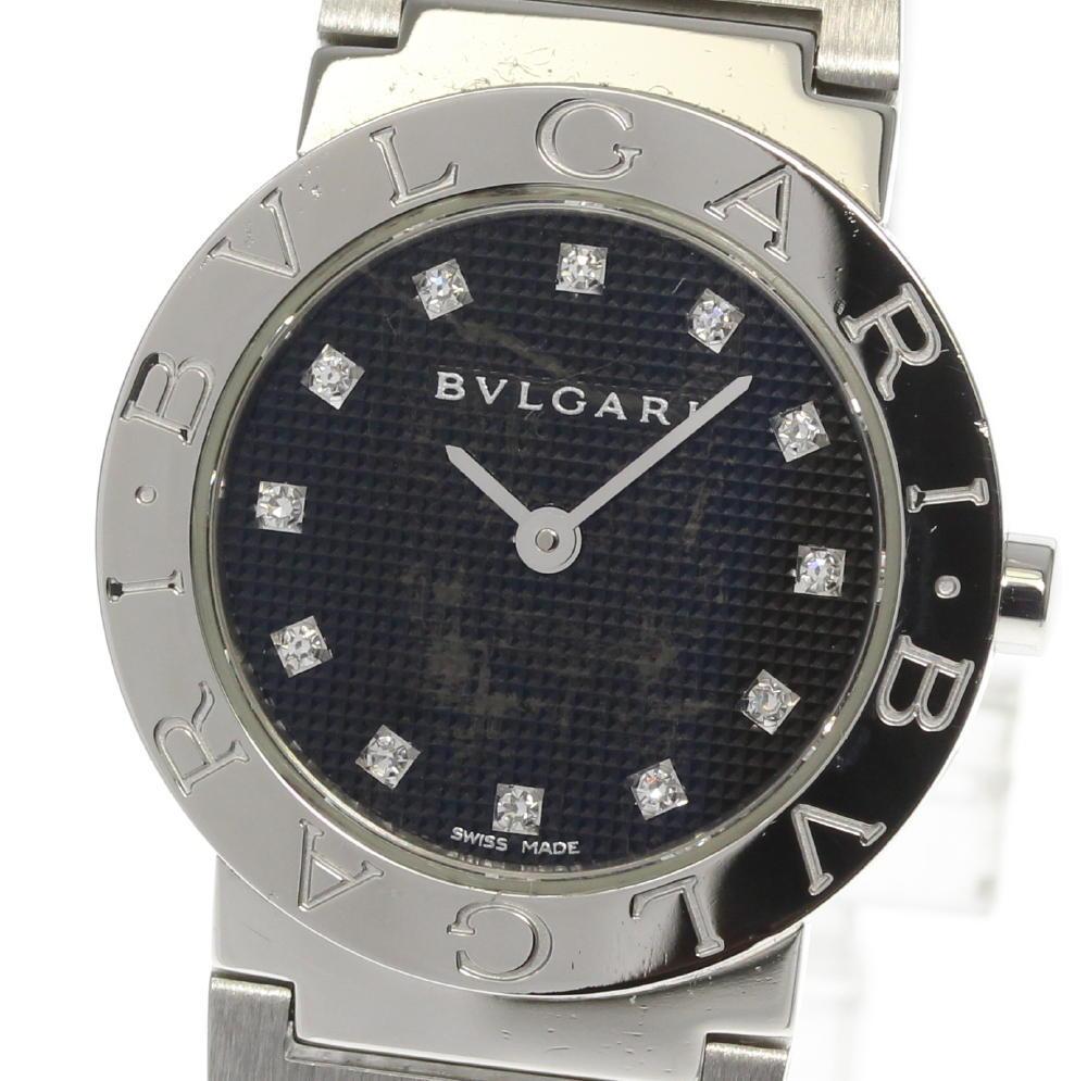 【BVLGARI】ブルガリブルガリ BB26SS 12P ダイヤ ブラック文字盤 クォーツ レディース【中古】