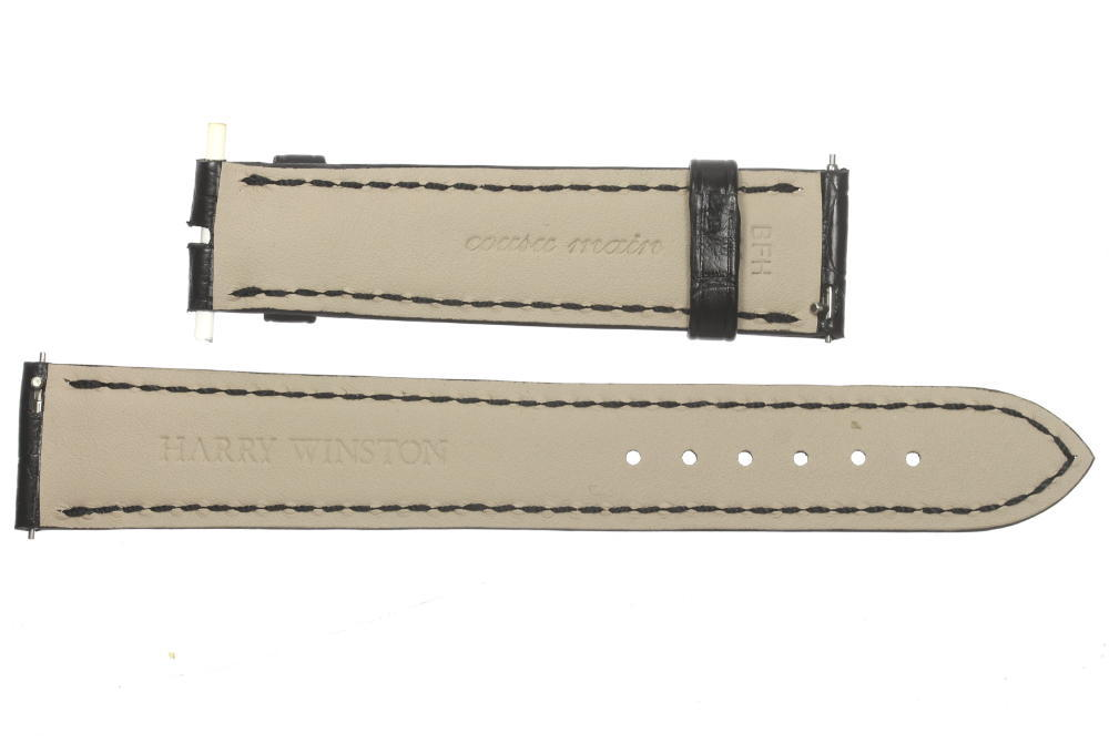 未使用品HARRY WINSTON ハリーウィンストン ラグ幅18mm 腕時計用 ブラック メンズ 革ベルトv8N0wOmny