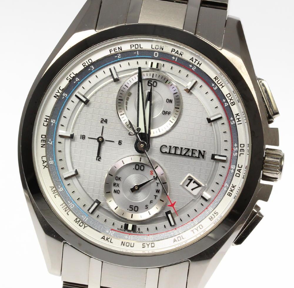 【CITIZEN】シチズン アテッサ H804-T020232 エコドライブ チタン ソーラ電波 メンズ【中古】