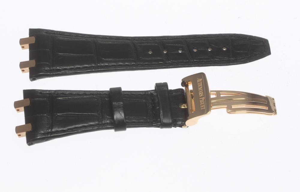 ★未使用品★【Audemars Piguet】AP オーデマ・ピゲ ラグ幅27mm 黒 バックルK8PG 腕時計用 革ベルト【中古】
