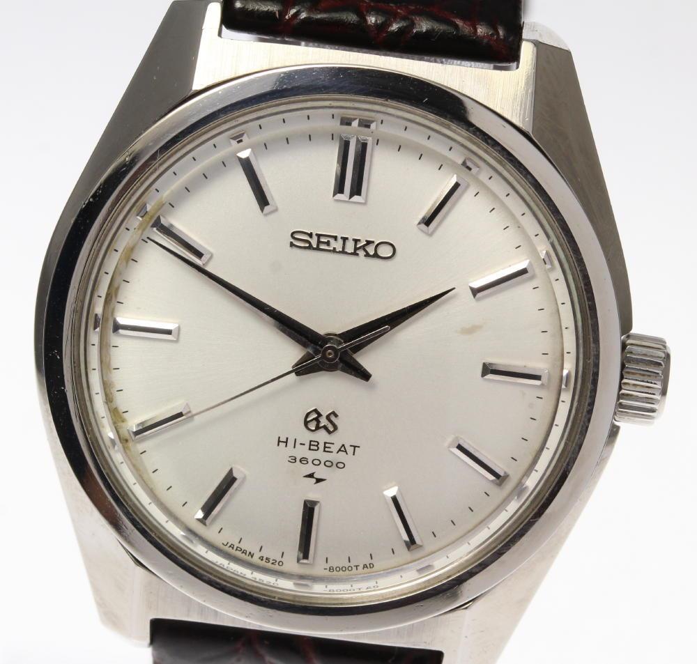 【SEIKO】GS グランドセイコー 4520-8000 ハイビート 手巻き 革ベルト メンズ【中古】
