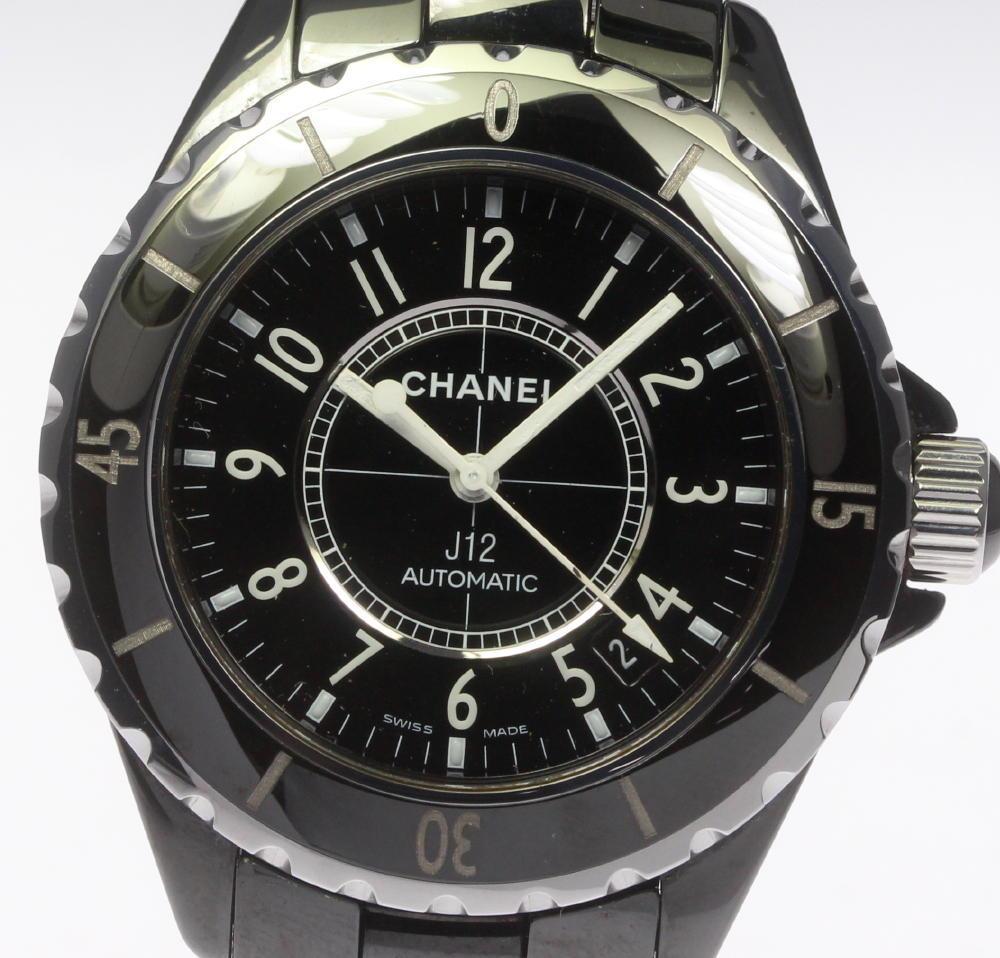 a56f11be8f6a J12 ※訳あり品【CHANEL】シャネル 黒セラミック 自動巻き【中古】 メンズ デイト H0685-メンズ腕時計