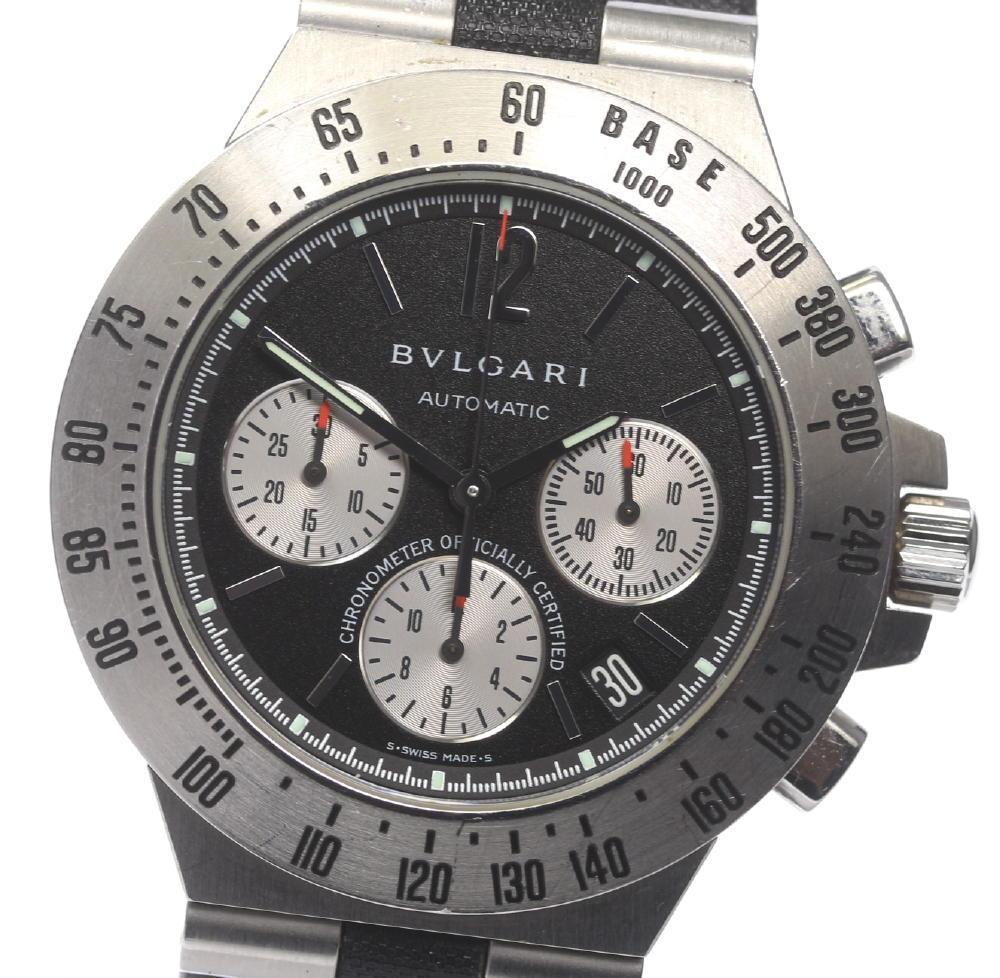 保証書付【BVLGARI】ブルガリ ディアゴノ タキメトリック CH40STA クロノグラフ 自動巻き 革ベルト メンズ【中古】