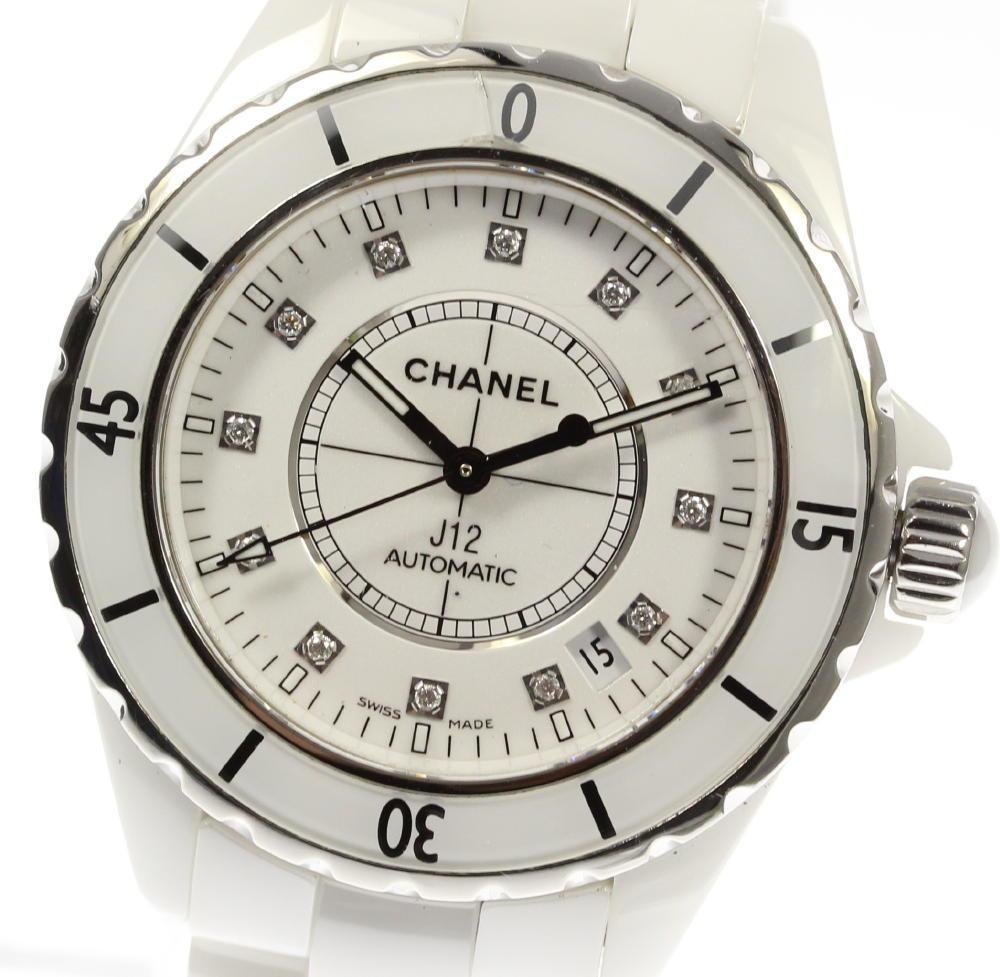 【CHANEL】シャネル J12 白セラ H1629 12Pダイヤ 自動巻き メンズ★【中古】