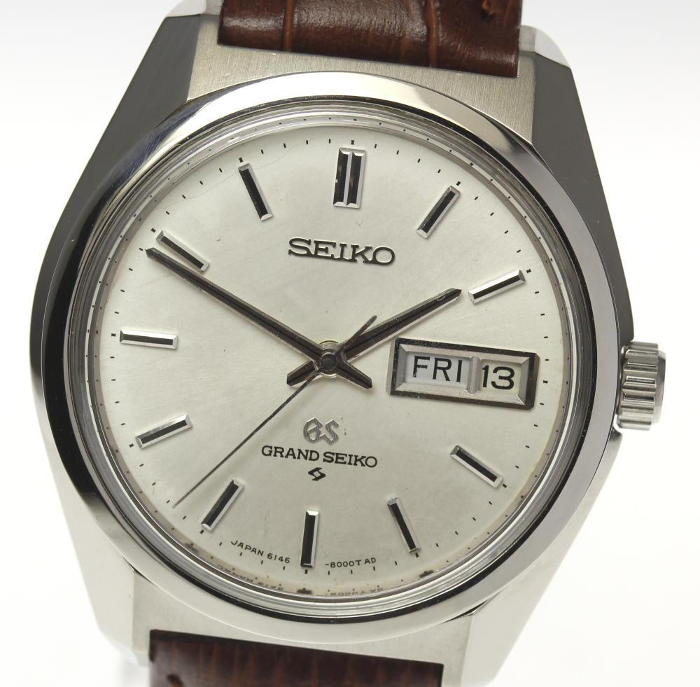 【SEIKO】GS グランドセイコー 6146-8000 自動巻き デイデイト 革ベルト メンズ【中古】
