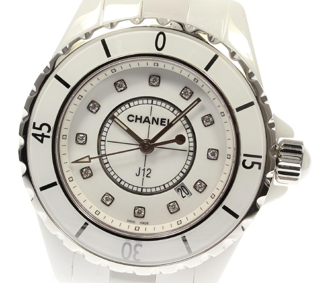 1d247353e02c レディース【中古】 クォーツ 12Pダイヤ 33ミリ 白セラミック H1628 J12 ☆美品☆箱保付【CHANEL】シャネル-レディース腕時計