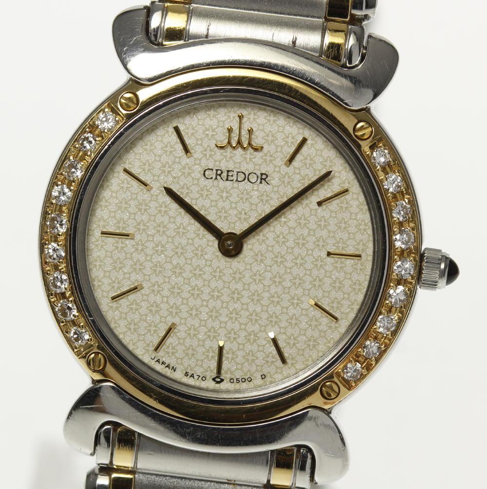 【SEIKO】セイコー クレドール ダイヤベゼル 5A70-0210 クォーツ レディース【中古】【190120】