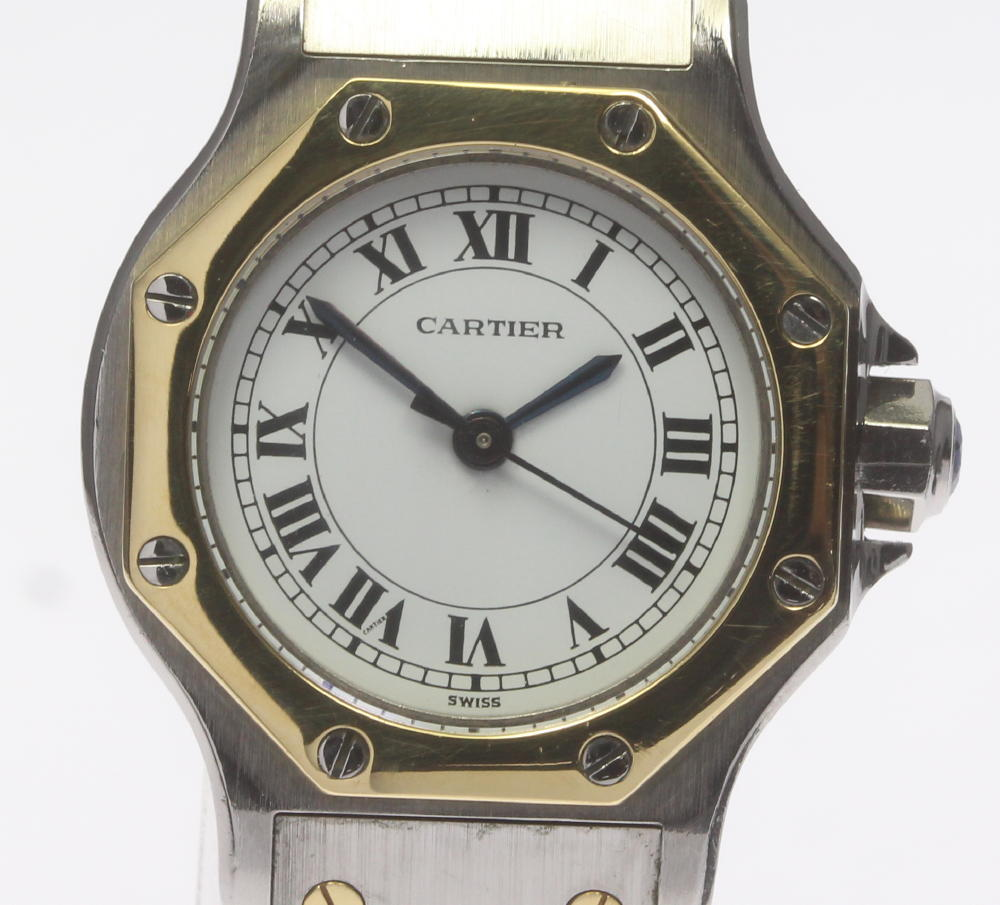 【CARTIER】カルティエ サントスオクタゴンSM YGベゼル 自動巻き レディース【中古】【190120】