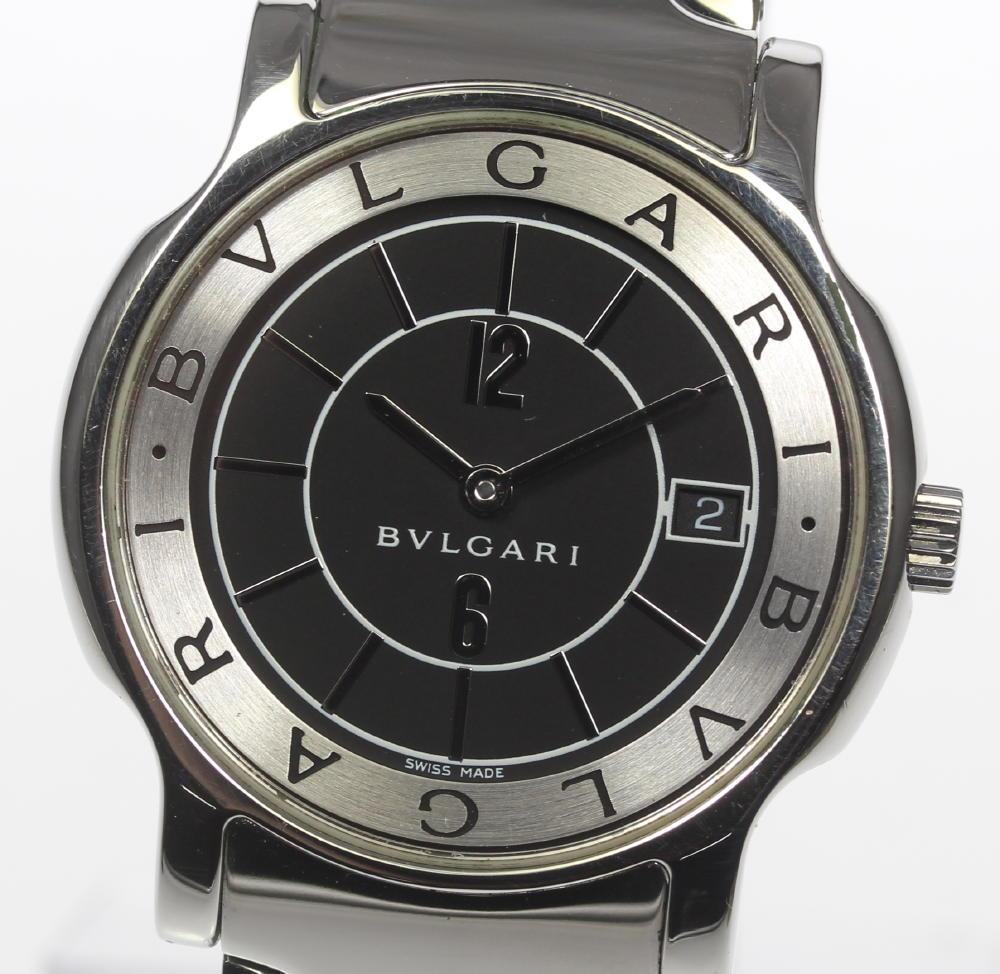 良品!【BVLGARI】ブルガリ ソロテンポ ST35S QZ 黒文字盤 メンズ★【中古】【190210】