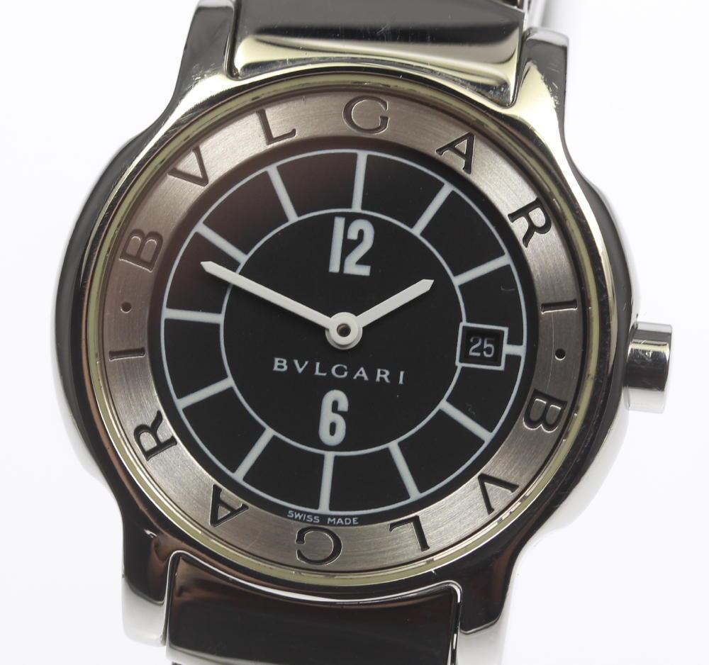 huge selection of f3052 09103 Bulgari solo tempo ST29S black clockface date quartz Lady's
