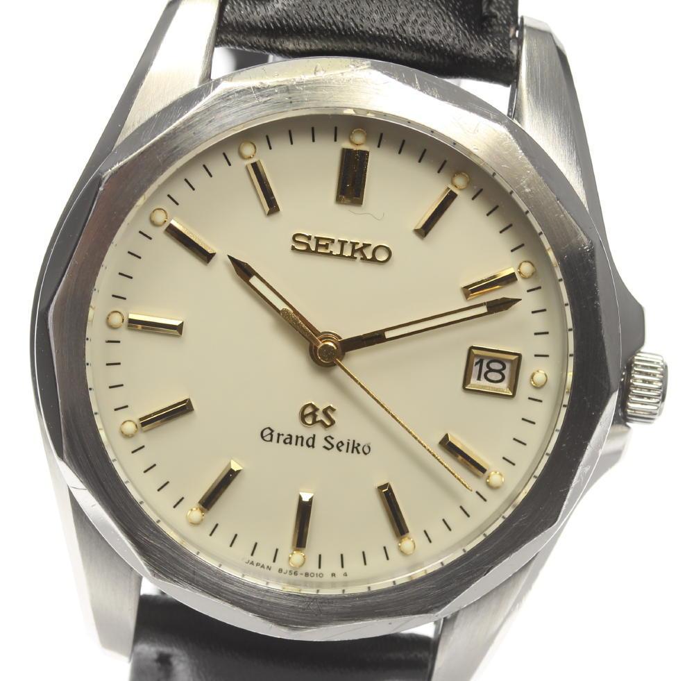 【SEIKO】GS グランドセイコー 8J56-8010 QZ 革ベルト メンズ【中古】【190210】