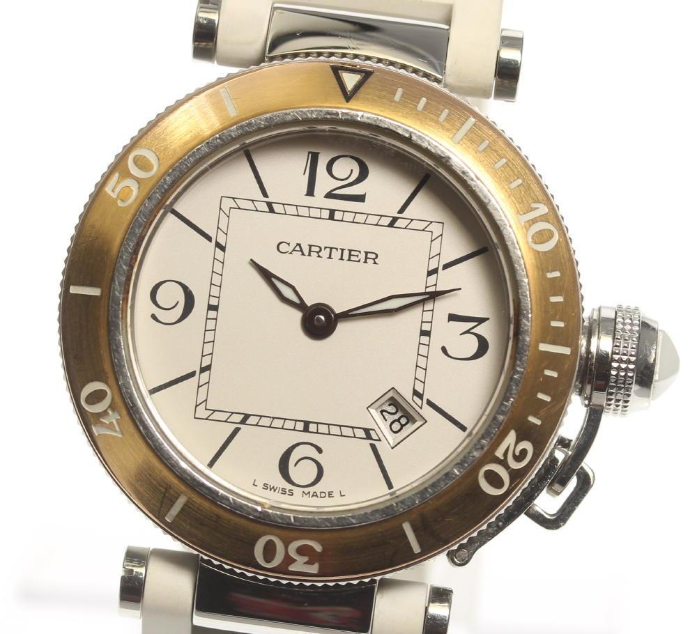 【CARTIER】カルティエ パシャ シータイマーレディ W3140001 QZ ラバーベルト レディース【中古】【190210】