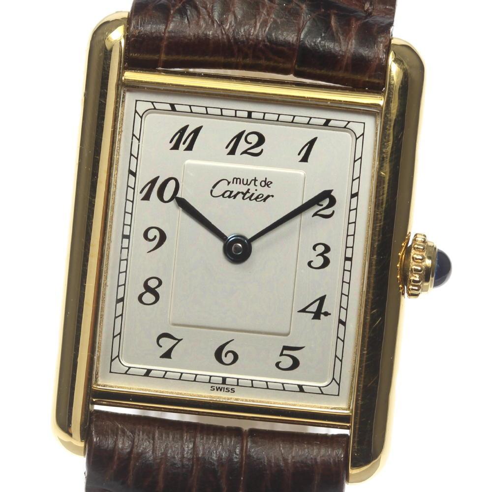 【Cartier】カルティエ マストタンク 590005 社外ベルト クォーツ レディース【中古】【190210】