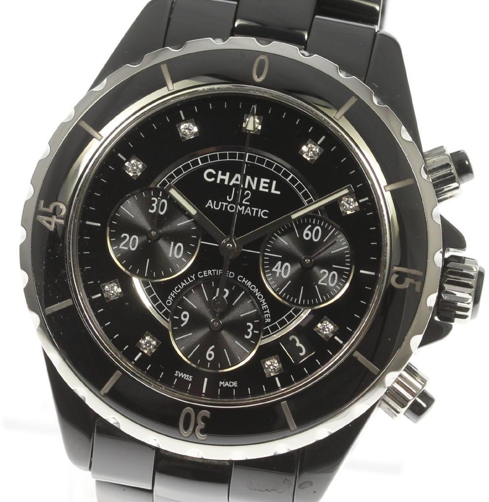 【CHANEL】シャネル H2419 黒セラミック 9Pダイヤ クロノグラフ デイト 自動巻き メンズ【中古】【190210】