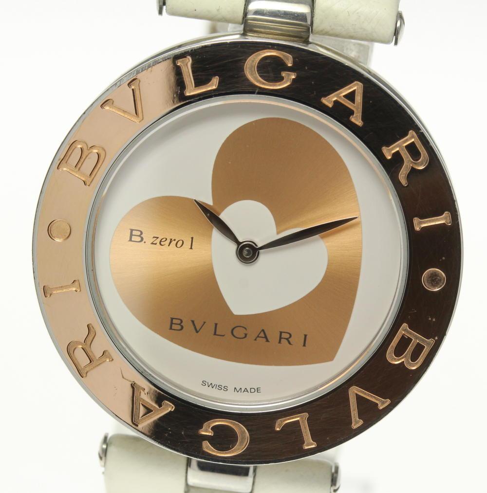 【BVLGARI】ブルガリ B-zero1 BZP35S ダブルハート SS×K18PG QZ 革ベルト レディース【中古】【190302】