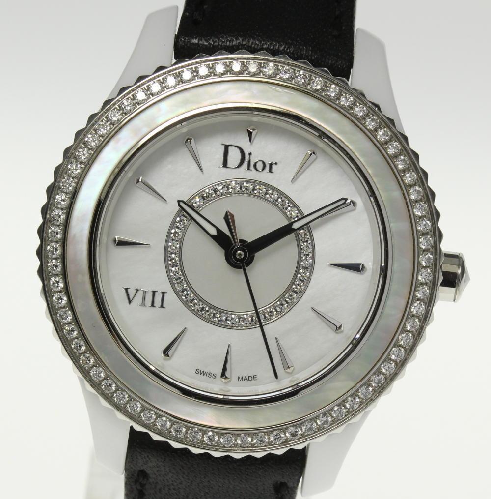 ★良品★【Christian Dior】クリスチャンディオール Dior VIII CD1231E4C001 シロセラ ダイヤベゼル QZ 革ベルト レディース【中古】【190302】