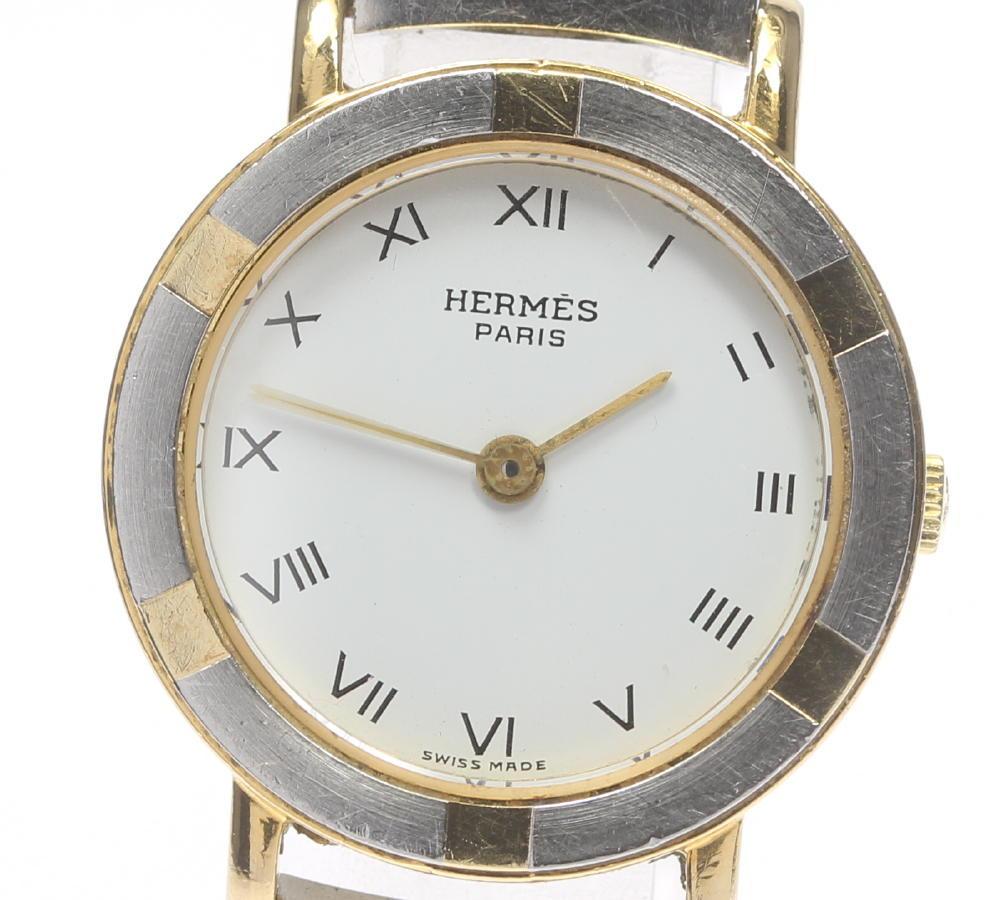 【HERMES】エルメス ラウンド ステンレス×GP 白文字盤 クォーツ レディース【中古】【190321】