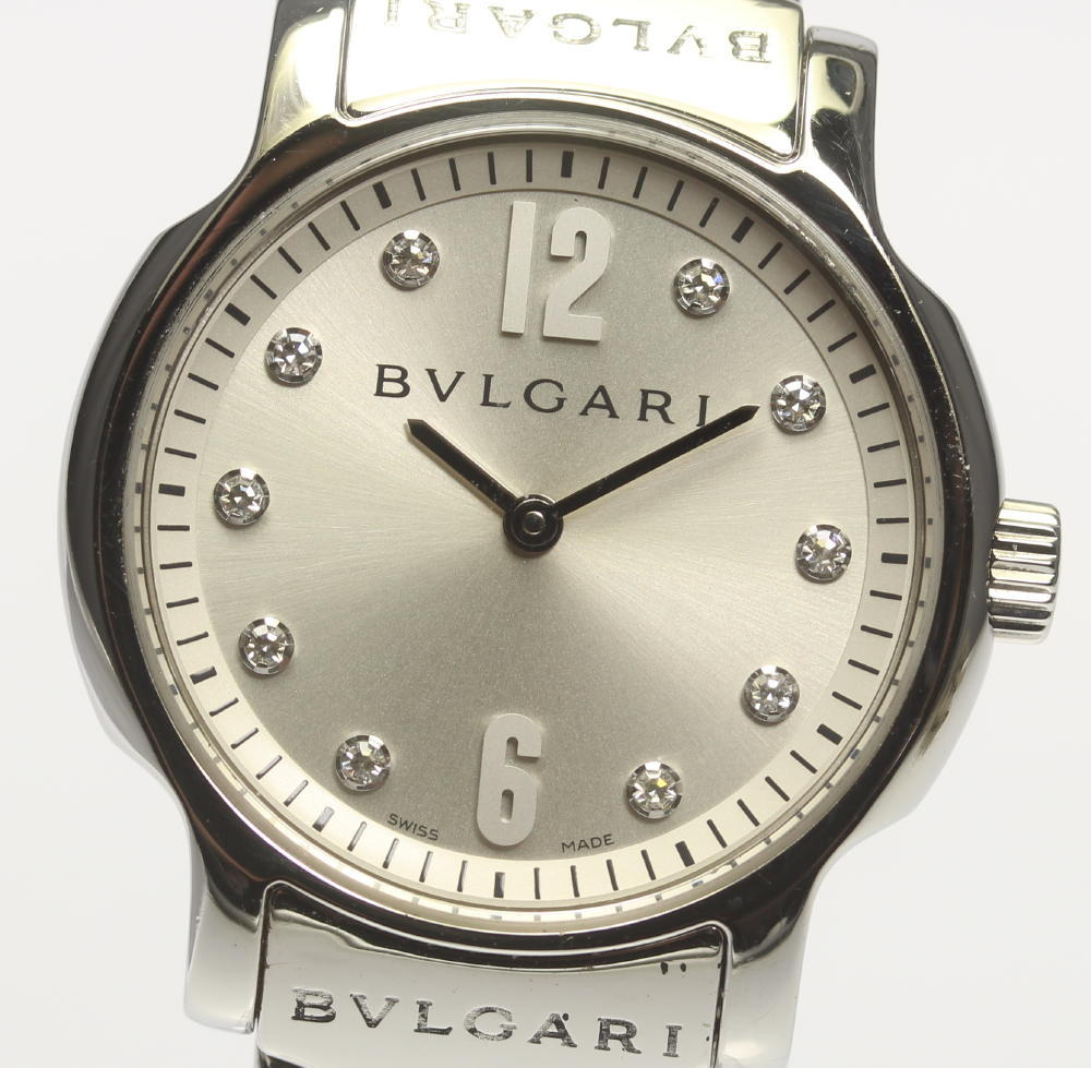 【BVLGARI】 ブルガリ ソロテンポ ST29S 10Pダイヤモンド シルバー文字盤 クォーツ SSベルト レディース【中古】【190321】