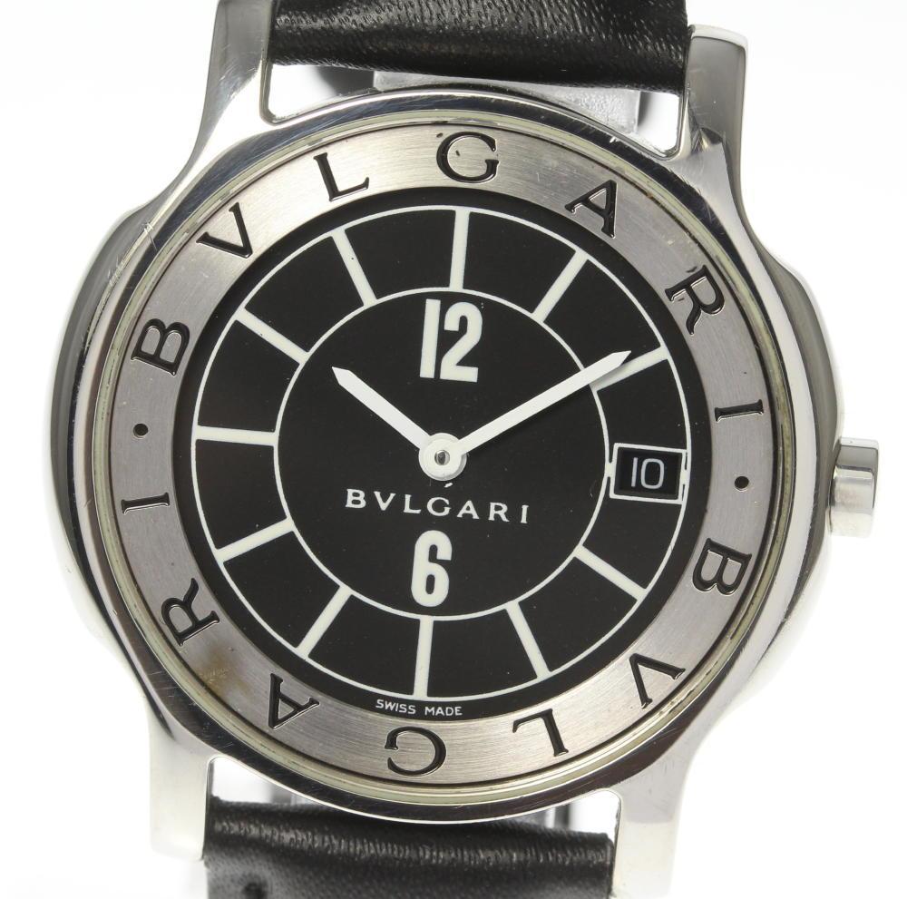 【BVLGARI】ブルガリ ソロテンポ ST35S ブラック文字盤 デイト 革ベルト クォーツ メンズ【中古】【190321】
