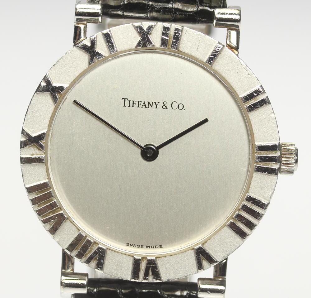 【TIFFANY&Co.】ティファニー アトラス M0640 SV925 革ベルト クォーツ メンズ【中古】【190321】