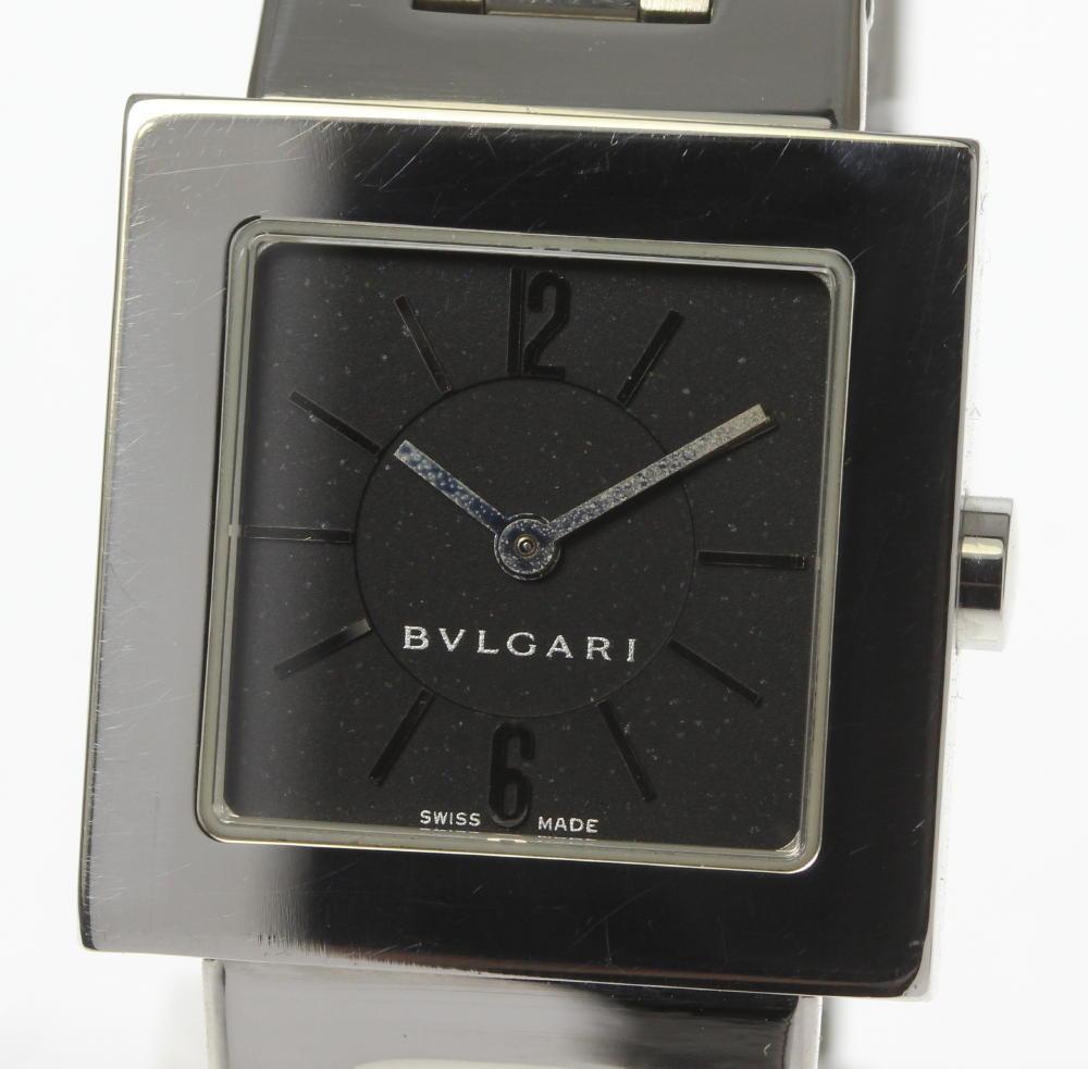 【BVLGARI】ブルガリ クアドラード SQ22SS ブラック文字盤 QZ レディース【中古】【190321】