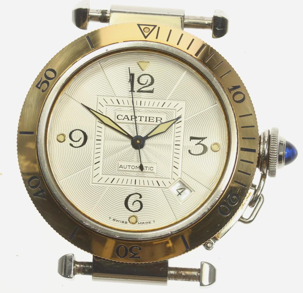 【Cartier】カルティエ パシャ38mm SS×YG ギョーシェ文字盤 デイト 自動巻き メンズ【中古】【190321】