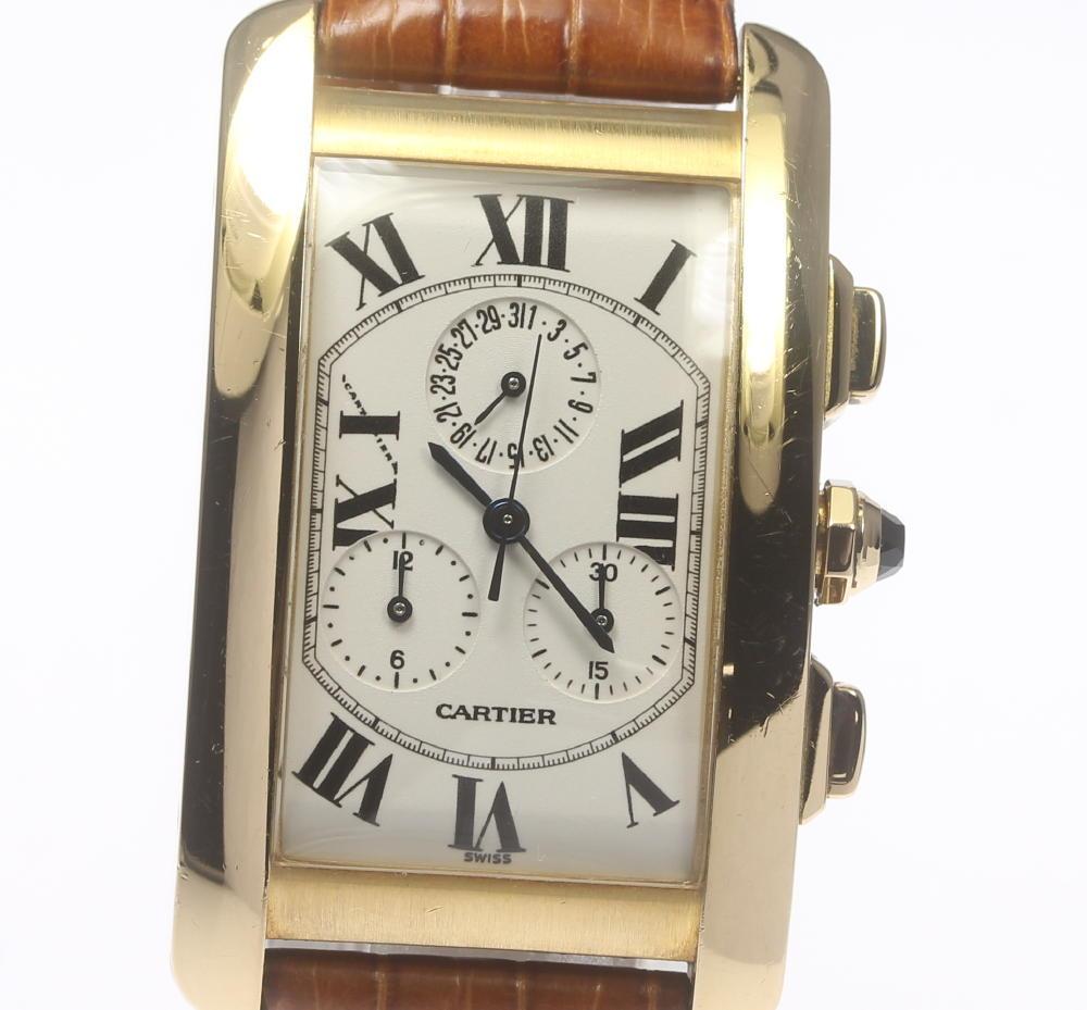 【Cartier】カルティエ タンクアメリカン クロノリフレックス W2601156 K18YG 革ベルト クォーツ メンズ【中古】【190321】