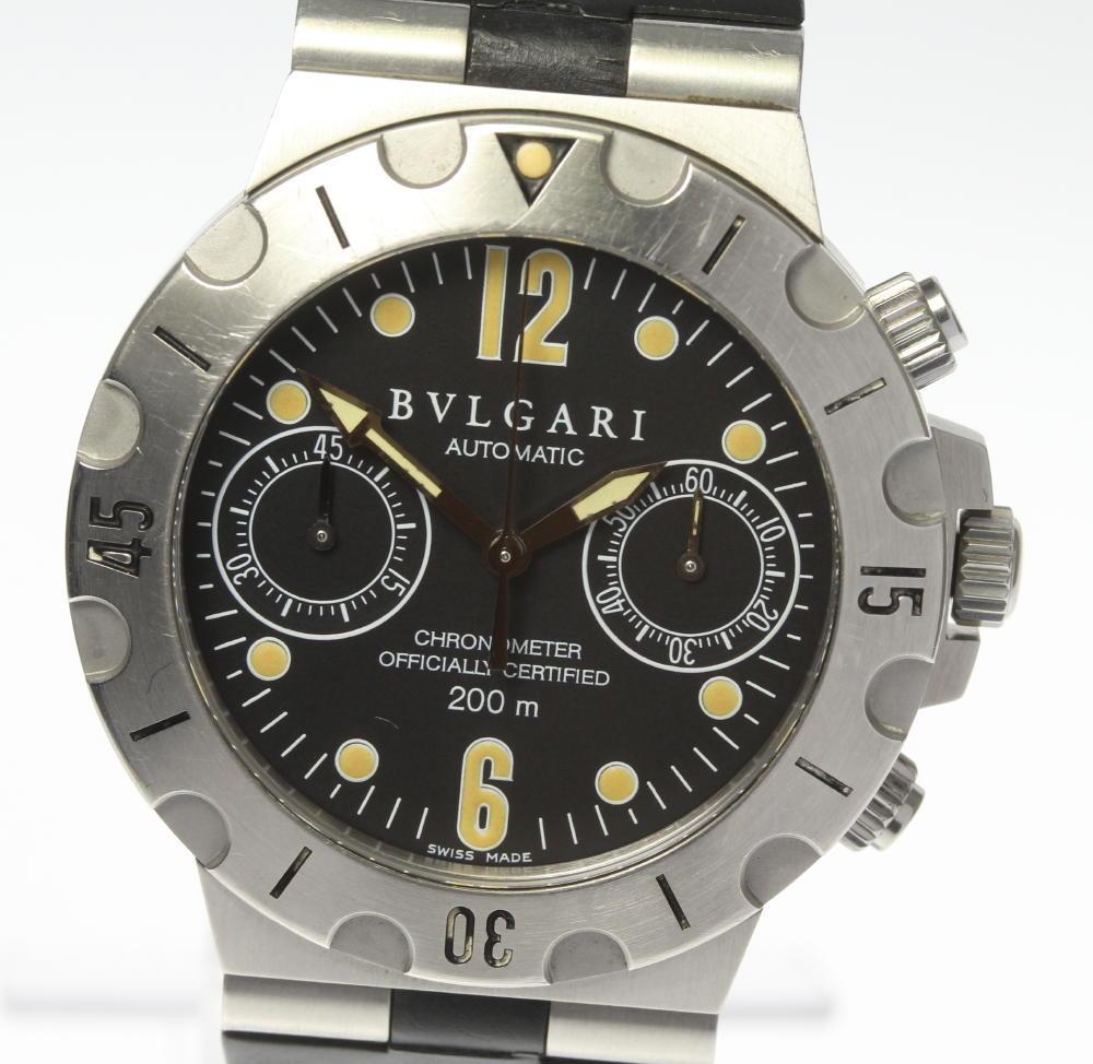 【BVLGARI】ブルガリ ディアゴノスクーバ SC38S ラバー 自動巻き メンズ【中古】【190321】