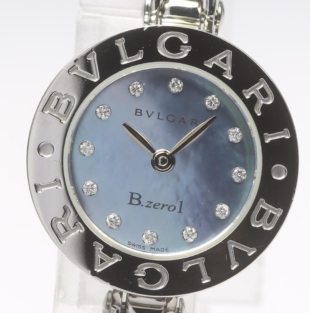 【BVLGARI】ブルガリ BZ22S B-zero1 12Pダイヤ ブルーシェル文字盤 クォーツ レディース【中古】