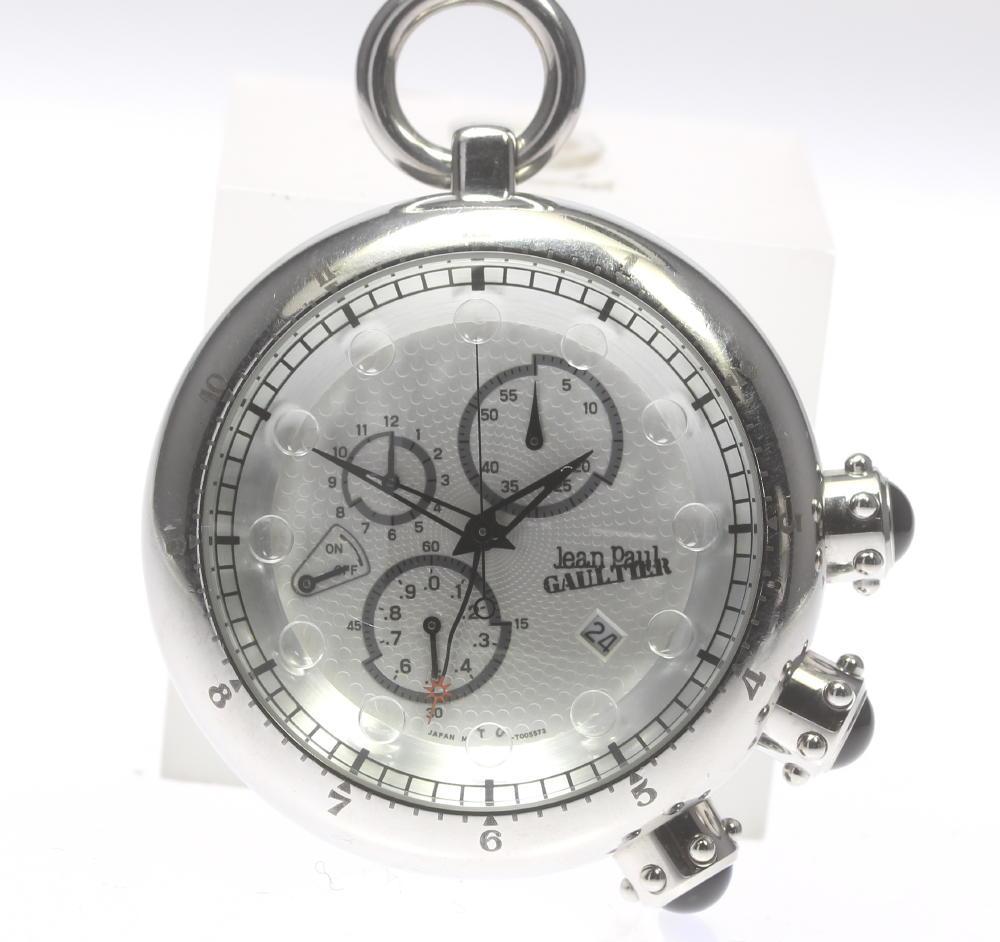 【Jean Paul GAULTIER】ジャンポール・ゴルチエ アンティーク メタル クロノグラフ 懐中時計★【中古】