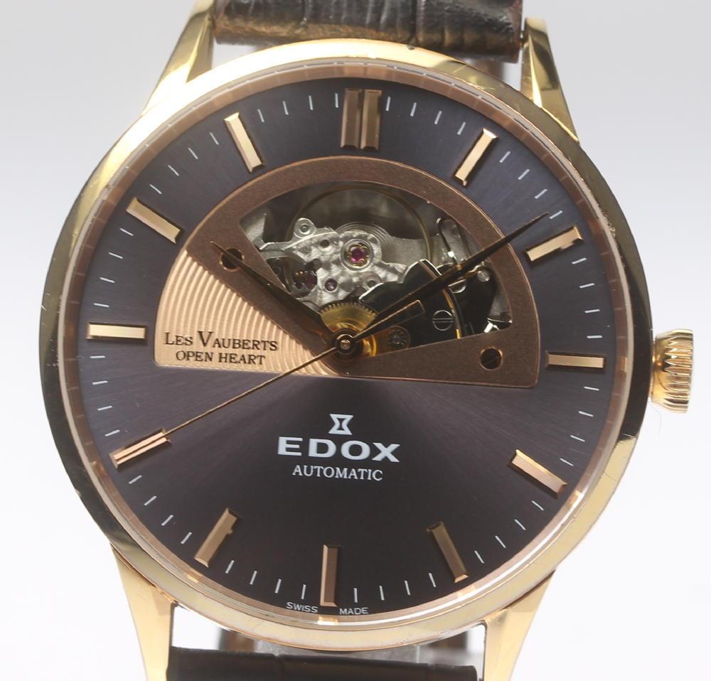 EDOX エドックス 85014-37R-GIR レ・ヴォベール オープンハート メンズ 自動巻き 純正革ベルト★【中古】