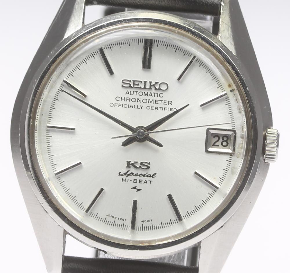 【SEIKO】KS キングセイコー ハイビート クロノメーター 5245-6010 自動巻き 革ベルト メンズ【中古】