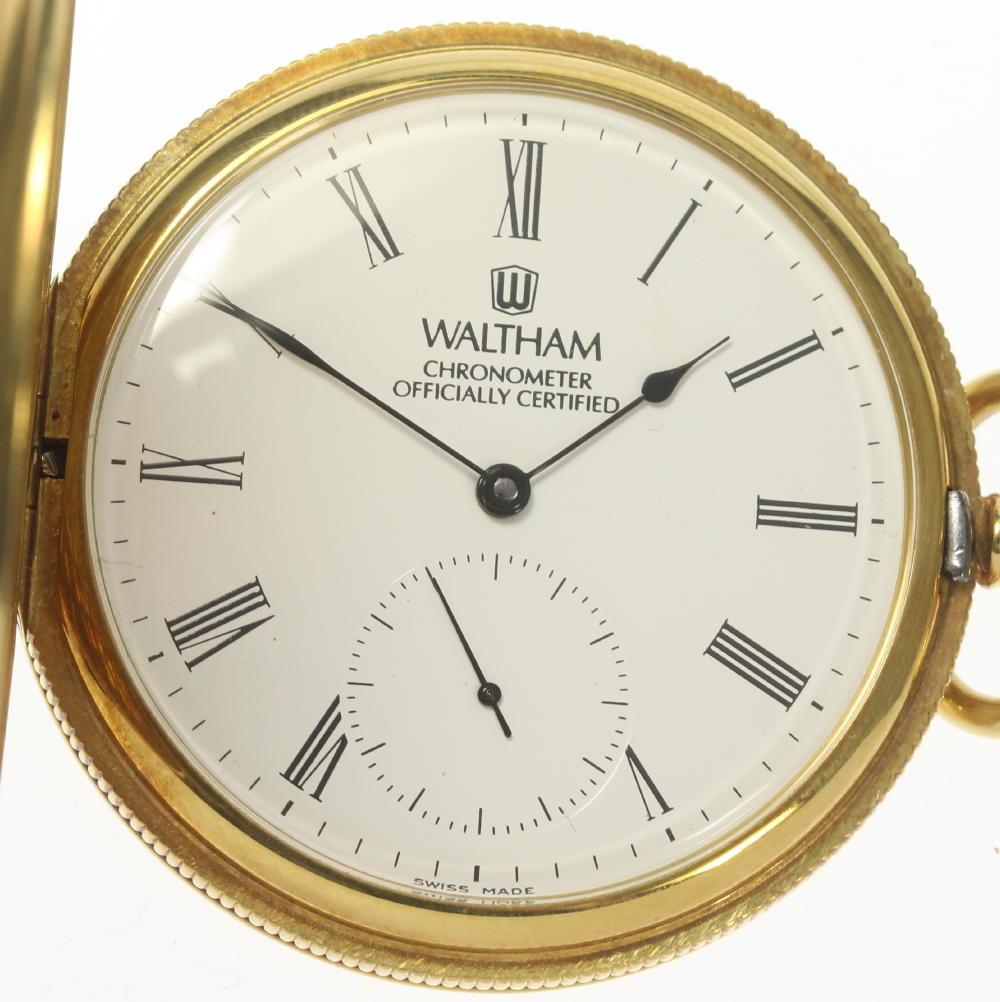 【WALTHAM】ウォルサム K18YG スモセコ 50mm 手巻き 懐中時計【中古】