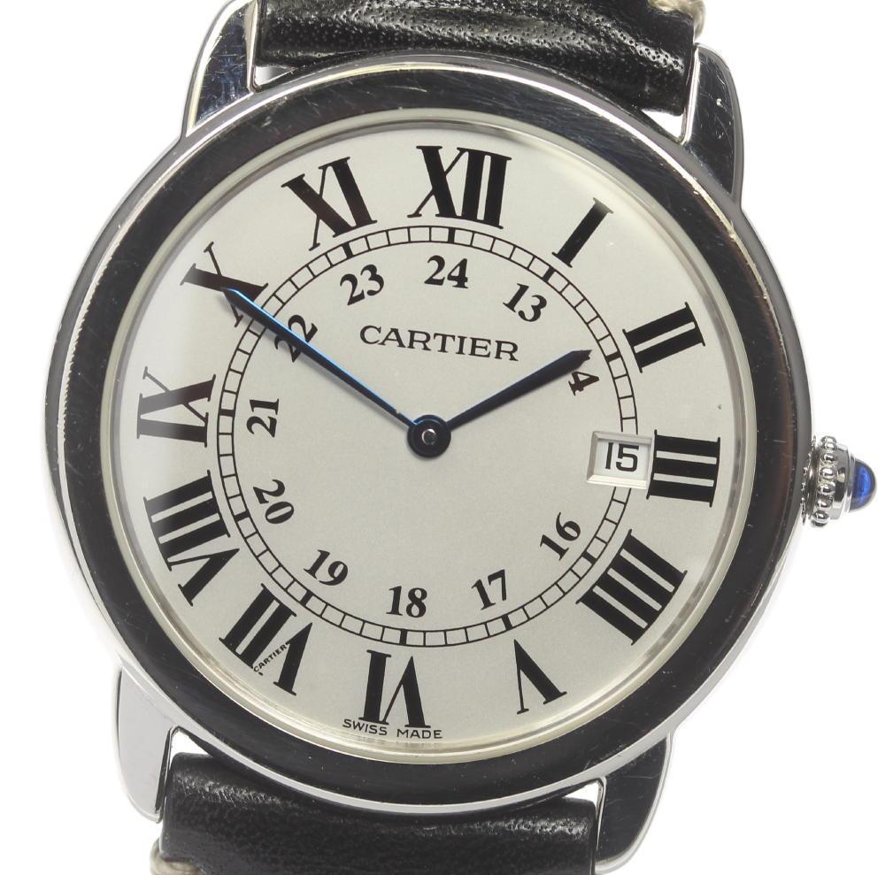 ※訳あり品 【Cartier】 カルティエ ロンドソロ LMサイズ W6701005 クォーツ 社外革ベルト メンズ【中古】