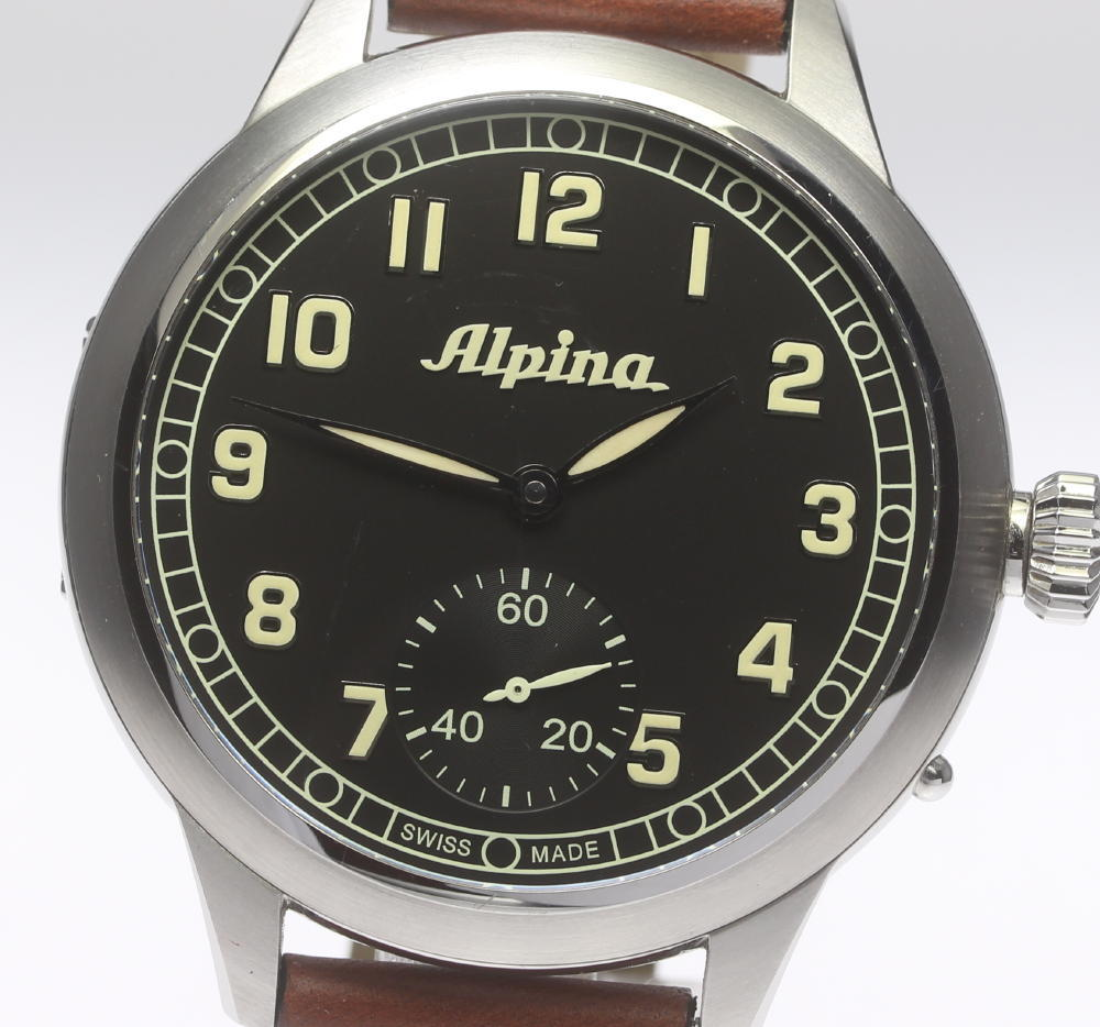 【Alpina】アルピナ アビエーション ヘリテージ パイロット AL435B4SH6 手巻き 革ベルト メンズ★箱・保【中古】