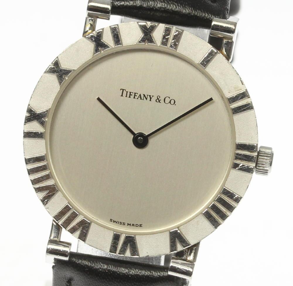 【TIFFANY&Co.】ティファニー アトラス M0640 SV925 QZ 革ベルト メンズ【中古】