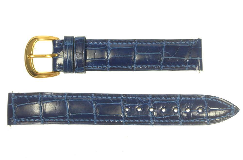 ☆美品☆【FRANCK MULLER】フランクミュラー ラグ幅16mm 尾錠K18YG ブルー メンズ 腕時計用革ベルト【中古】