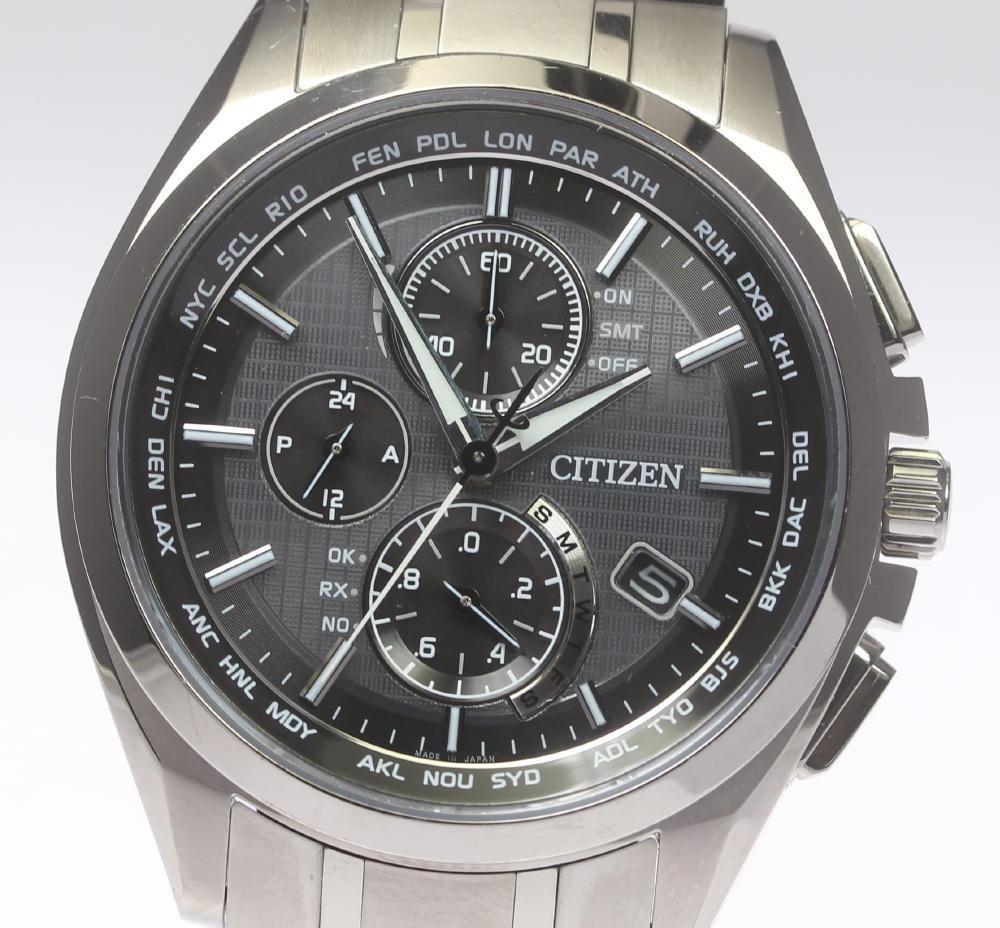 【CITIZEN】 シチズン アテッサ エコドライブ H804-T018696 チタン ソーラー電波 メンズ【中古】