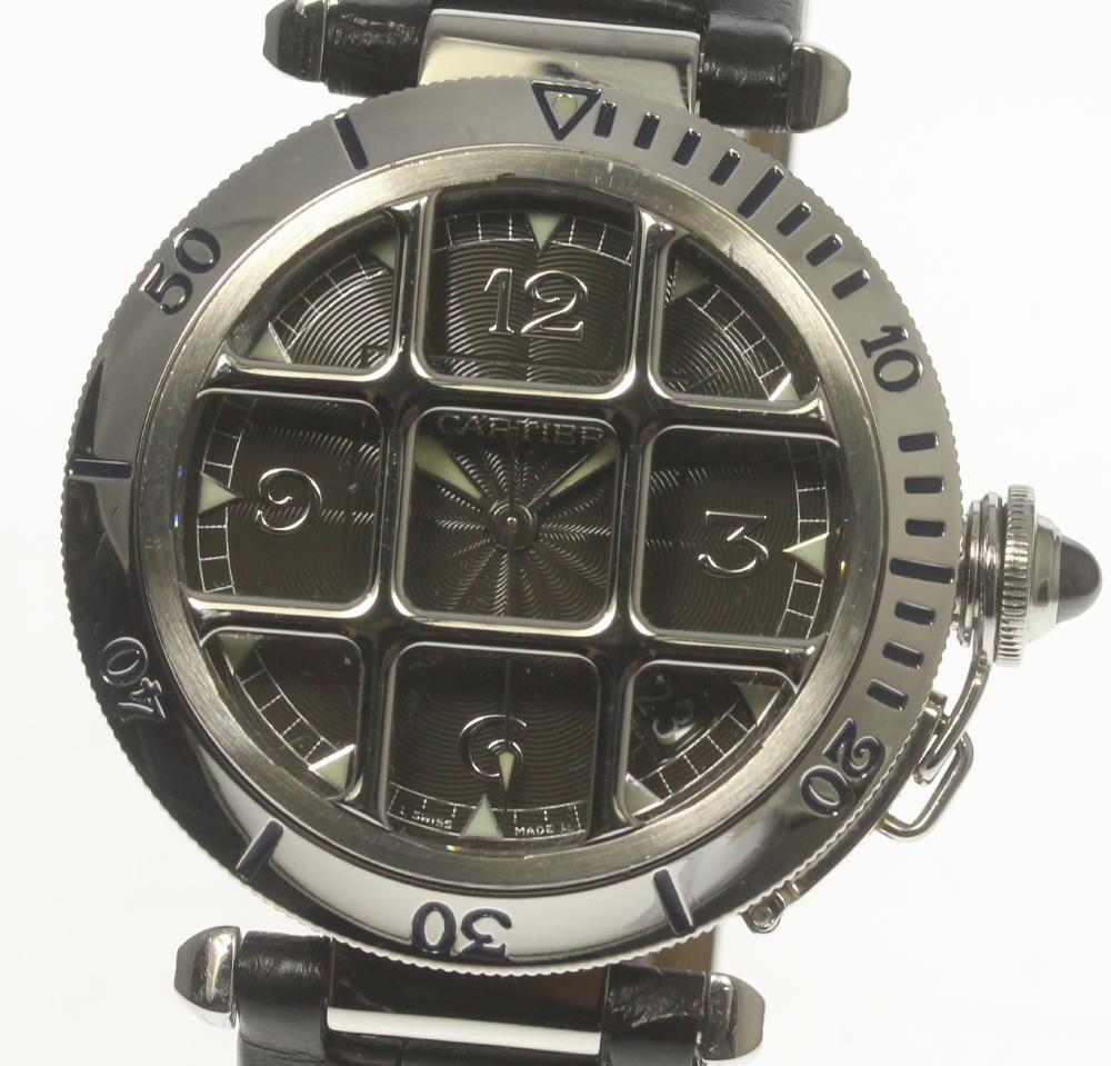 良品【Cartier】カルティエ パシャグリッド W3106255 ブラックギョーシェ文字盤 革ベルト 自動巻き メンズ【中古】