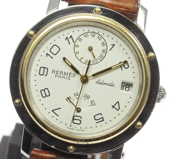 Hermes clipper power reservation CL5 .720 self-winding watch men★