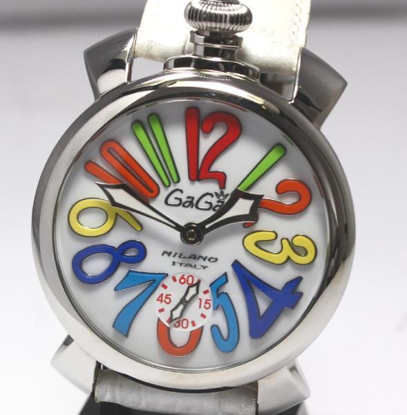 ガガミラノ マヌアーレ 48ミリ 5010.01S 革ベルト 手巻き メンズ【19013】【中古】【event20】